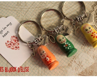 3 pcs Matryoshka Grandmother, Mummy, Daughter Keychain Friendship Keychains Family Keychain (KC30-LOT 1)