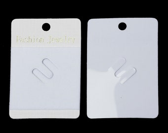 "Plastic Jewelry Brooch Display Card Rectangle White 70mm(2 6/8"") x 49.0mm(1 7/8""), 20 PCs"