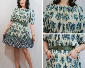 Blue and Green Floral Dress
