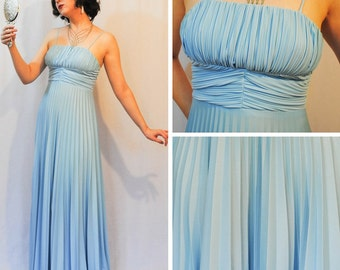 Pale Blue Pleated Prom Dress
