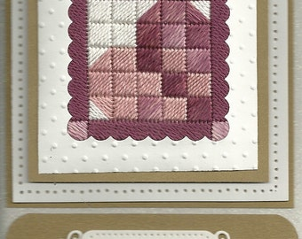 Stitched Quilt Block Heart Card