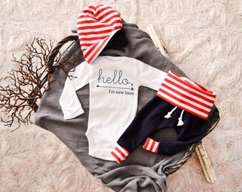 Baby Boy or Baby Girl Coming Home Outfit: CHOOSE YOUR COMBO Navy Hello I'm New Here, Red White and Blue Harem Pants and Slouchy Hat