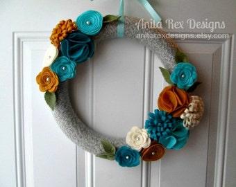Yarn Wreath, Year Round Wreath, Mustard Yellow, Teal Aqua Felt Flower Wreath, Modern Wreath, All Season Wreath, Front Door Wreath