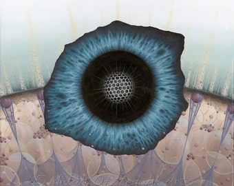 """Surreal, abstract art. Anatomical eye painting. Acrylic on canvas. Iris, radiolarian, science art, biology. """"Single Cell"""" by Micah Ofstedahl"""