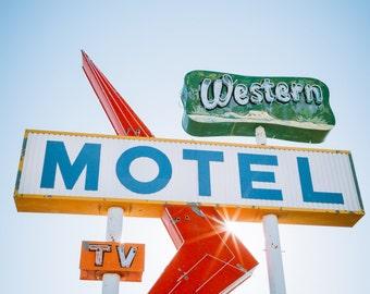 vintage sign photography, new mexico photography, vintage motel sign print, mid-century decor, retro decor, western art, large wall art