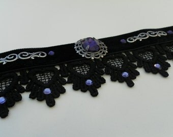 Black VELVET and lace choker with DEEP PURPLE swarovski crystal and silver filigree