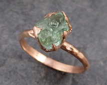 Raw Rough Emerald  Rose Gold Ring Solitaire Birthstone One Of a Kind Gemstone Engagement Wedding Ring Recycled gold byAngeline 0187