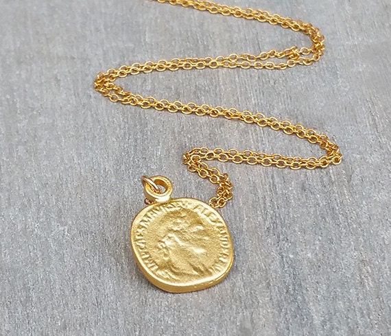 Disc necklace gold coin necklace coin jewelry delicate like this item aloadofball Image collections