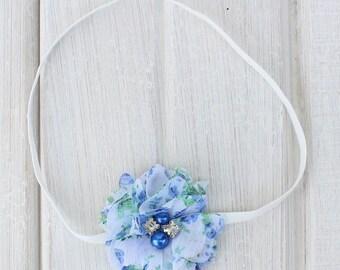 Blue Flower Headband, Baby Headband, Blue Headbands, Blue Baby Headband, Blue Infant Headband, Blue Newborn Headband, Baby Flower Headband