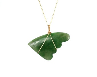 Wing necklace - jade necklace - jade leaf necklace - angel wing -a genuine jade wing wire wrapped onto a 14k gold vermeil chain