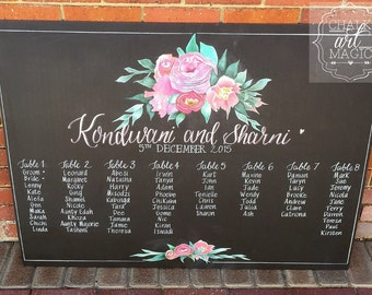Floral wedding seating chart chalkboard