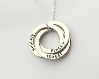Personalised interlocking circles necklace - russian wedding ring necklace - name necklace - triple ring necklace - gift for her mum sister
