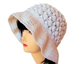 Womens Sun Hat, Summer Hat, Hand Knitted White Hat, Wide Brim Floppy Hat, Floppy Beach Hat, Cotton Crochet Hat, Summer Accessories, Sue Maun