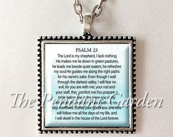 PSALM 23 PENDANT Scripture Necklace 23rd Psalm Necklace Bible Verse Jewelry Scripture Jewelry Judaic Christian Gift for Christian