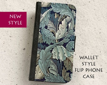iPhone Case (all models) - William Morris - Acanthus Flower Design - wallet style flip case -  Samsung Galaxy S4,S5,S6,S7Edge,S8 & more