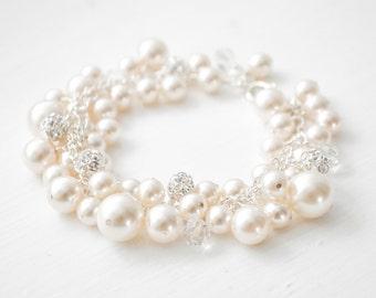 Bridal Bracelet, Crystal Pearl Cluster Bracelet, Pearl Bracelet, Bridal Jewellery, Wedding Bracelet