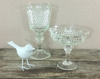 Vintage Diamond Cut Glass Vases, Set of Two