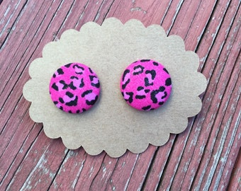 Pink Cheetah fabric covered button earrings