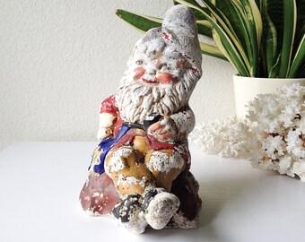 Vintage garden gnome statue stone plaster elf statuary creepy chippy troll lawn ornament