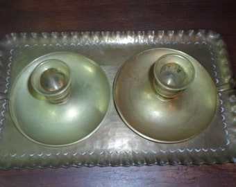 Holiday Sale: Antique Brass Candle Holders with a matching tray(was 20 now 15)