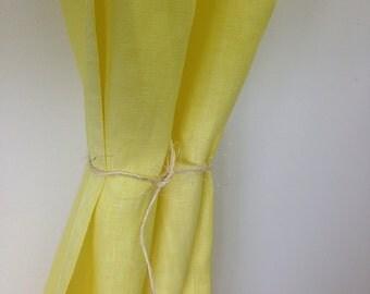 100 linen Curtain lemon green