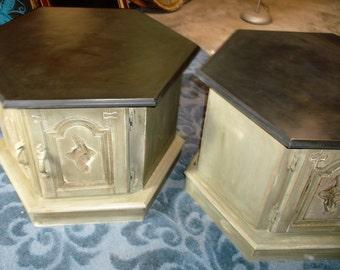 Pair of Vintage Solid Wood Handpainted End Tables/Nightstands - PICK UP only in CINCINNATI