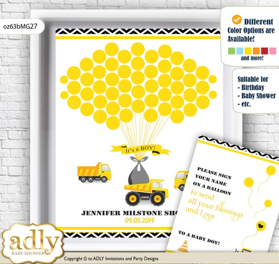 Truck Construction Guest Book Printable Alternative and Truck ...