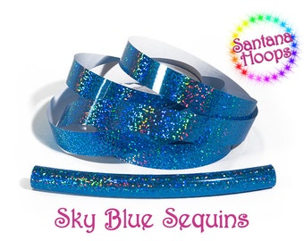 Sky Blue Sequins Fully Taped Performance Hula Hoop Polypro or HDPE