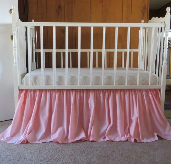 Vintage Inspired Classic Soft Pink Nursery: Blush Peachy Pink Crib Skirt Vintage Style Inspiration