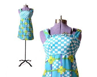 1960s Dress 60s Dress 1960s Mini Dress Hawaiian Dress Hairspray Costume Vintage 1960s Dress Vintage 60s Dress Womens 60s Dress Blue Dress