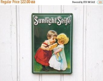 ON SALE Metal Advertising Sign - Vintage German Advertising Signage - Tin Sign - Home Decor - Loft Decor