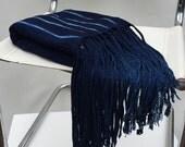 Handmade African Indigo Dye Mud Cloth/ Bogoloanfini with Long Tassels, Imported from Mali