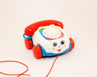 Pull Along Telephone Toy, Fisher Price Toys, interactive telephone, pull along toy