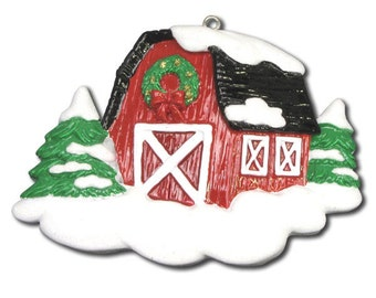 Red Barn Personalized Christmas Ornament- Barn Ornament - Christmas Ornament - Custom Names or Message