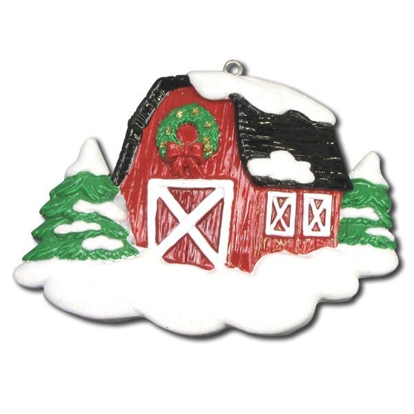 Red Barn Personalized Christmas Ornament Barn Ornament