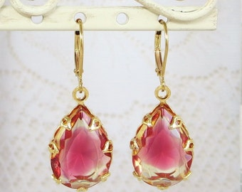 Ruby Red Earrings Dangles Ruby Citrine Sunset Bridal Wedding Downton Abbey Victorian