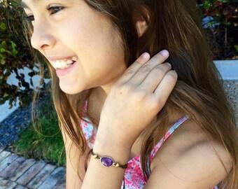 Friendship Bracelet Amethyst Stone Adjustable Cord