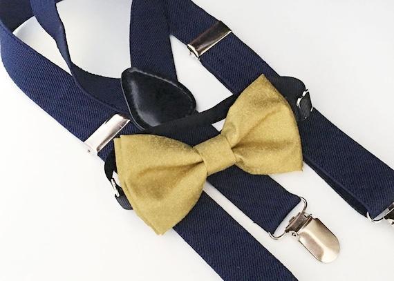 gold bow tie navy elastic suspenders set by bananaribbon