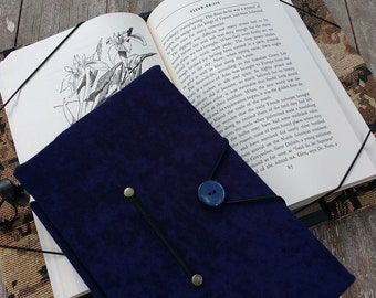 Hands free book holder for mass market paperback and small hard cover books, blue microsuede