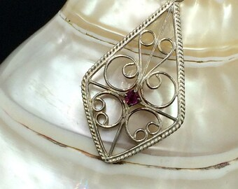 Ruby Sterling Silver Pendant and Chain, July Birthstone