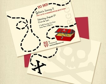 Pirate Birthday Party Invitation, Printable Treasure Map Invitation Custom Made with Pirate Theme, X Marks the Spot, Toddler Boy's Birthday