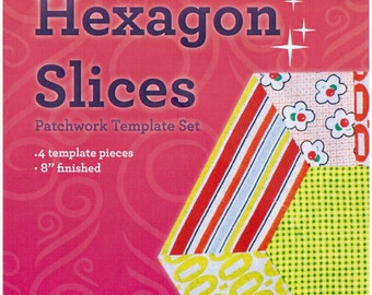 Patchwork Template Set - Hexagon Slice from Victorian Textiles 8 inch block finished- online quilting Australia, hexagon series