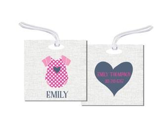 Baby Girl Bag Tag,  Personalized Bag Tag,  Luggage Tag,  Luggage Tag,  Girl Bag Tag ,Baby Tag, DayCare Bag Tag, Baby Gift, RyElle, Baby Tag
