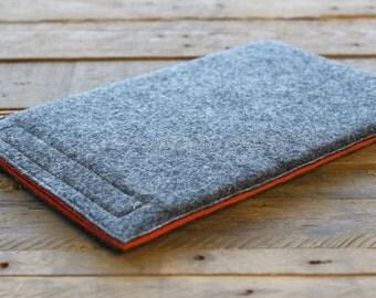 iPad Mini Case / iPad Mini Sleeve / iPad Mini Cover - Mottled Dark Grey and Choice of Inner Colours - 100% Wool Felt
