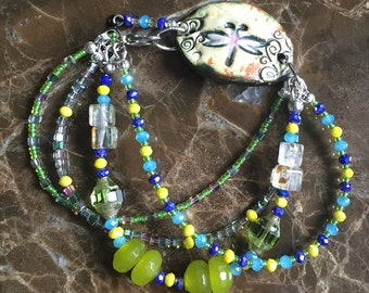 Butterly green blue yellow venetian glass seed bead bracelet multistands Ceramic Focal Artisan Clay Suzieqbeads
