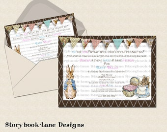 Peter rabbit Gender Neutral Baby Shower Invitation or for All Occasions