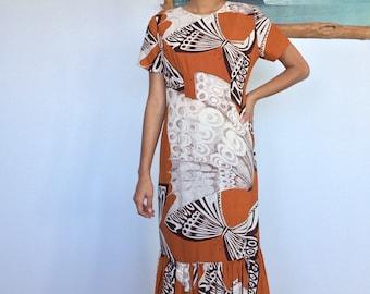 1960's Handmade Butterfly Print Mu'uMu'u Dress