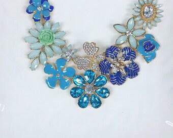 Blue Folower Statement Necklace, Bib Necklace, Bridesmaids Necklace, Fashion Party Necklace