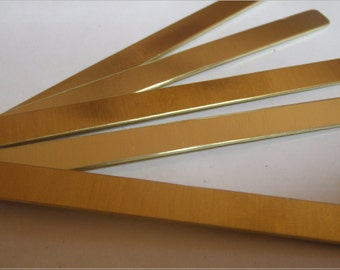 5 brass strips for jewelry making or tie bars 1/4inch by 3 inch in 20 gauge - rounded corners