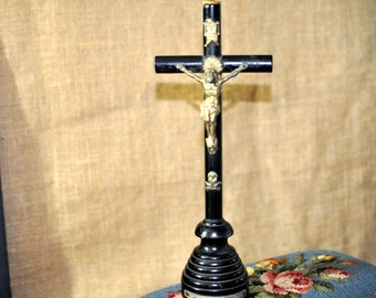 Wonderful Ebony Crucifix Cross,Vintage Religious Cross , Antique Nun's cross, very collectible, #1045